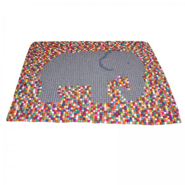 Tapis De Boules En Laine Multicolore Multico Bopompon